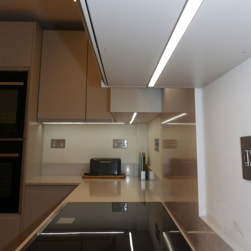 LED under unit lighting recessed into unit fleet
